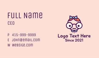 Smart Girl Cartoon Business Card