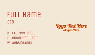 Retro Classic Script Wordmark Business Card