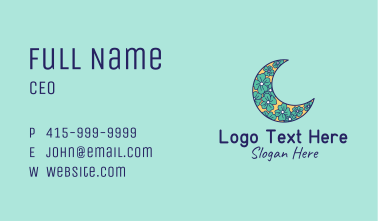 Floral Crescent Moon  Business Card