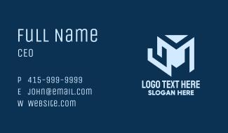 Blue Geometric Letter M Business Card