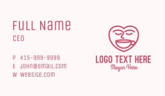 Pink Coffee Lover Business Card