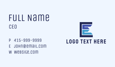 Contractor Letter E  Business Card