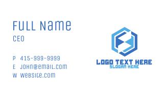 Abstract Blue Hexagon Business Card