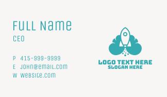 Blue Rocket Launch Cloud Business Card