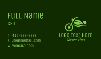 Eco Motorcycle Leaf  Business Card