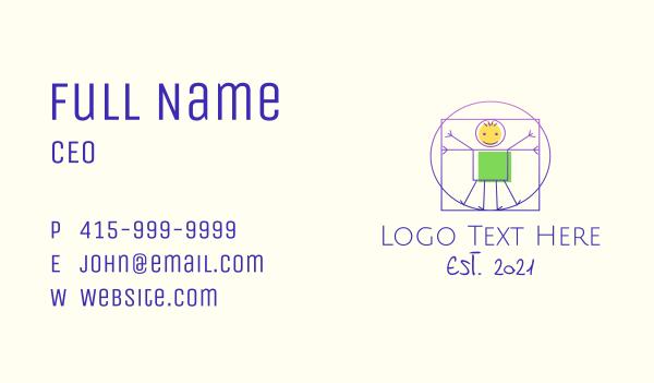 art shop - Vitruvian Man Stick Figure Business card horizontal design