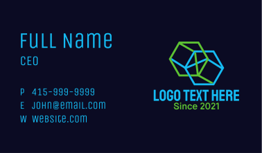 Geometric Hexagon Cylinder Business Card