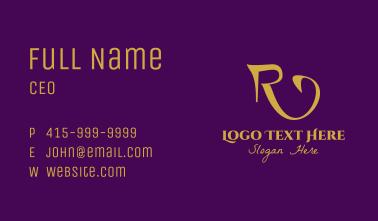 Gold Elegant Letter R Business Card