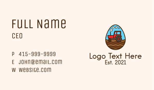 harvesting - Agricultural Tractor Egg Business card horizontal design