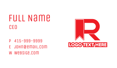 Red Ribbon R Business Card