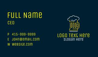Neon Beer Mug  Business Card