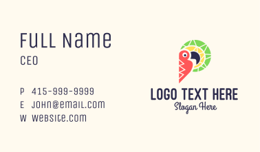 Colorful Toucan Letter P Business Card