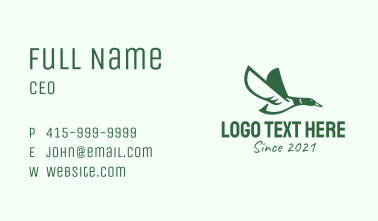 Green Flying Duck Business Card