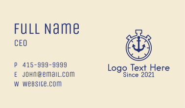 Timer Stopwatch Anchor  Business Card
