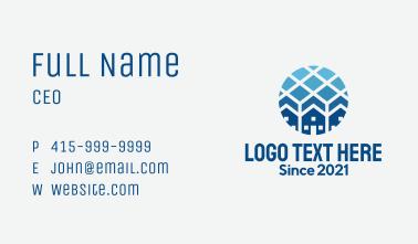 Blue Geometric Real Estate Business Card