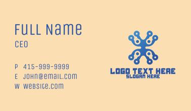 Blue Tech Circuit Letter X  Business Card