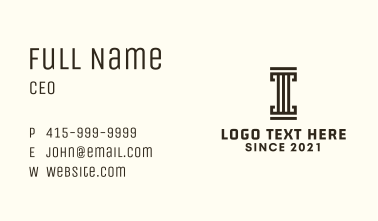 Linear Letter I Pillar  Business Card