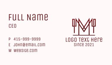 Sharp Letter M Outline Business Card