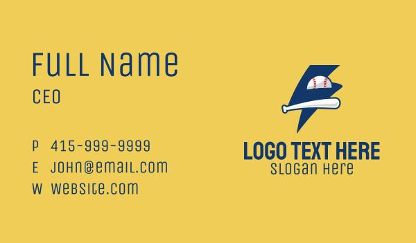 baseball - Lightning Baseball Team Business card horizontal design