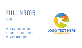 Colorful Circle Airplane Business Card