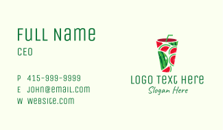 Watermelon Tropical Drink Business Card