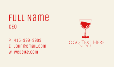Wine Bar Corkscrew Business Card