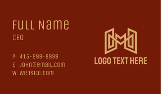 Gold Letter M Contractor Business Card