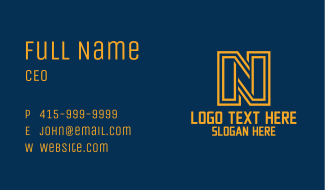 Linear Letter N Business Card
