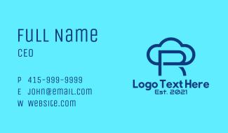 Blue Letter R Cloud Business Card