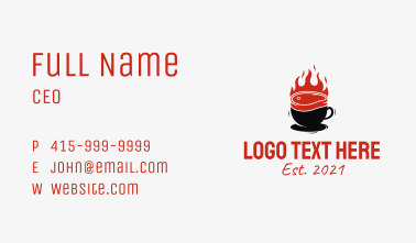 Flaming Steak Coffee Cup Business Card