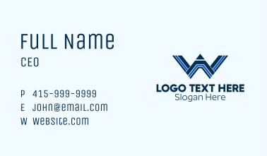 Linear Pencil letter W Business Card