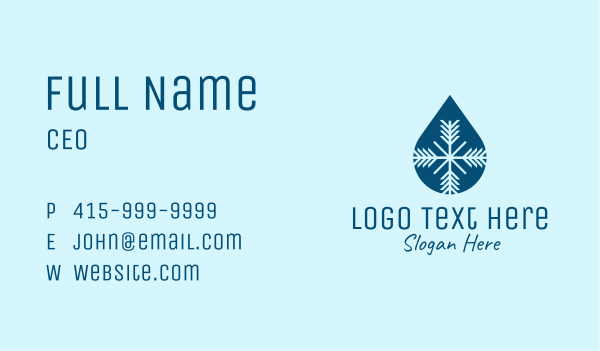 cryotherapy - Frost Drop Business card horizontal design
