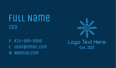 Outline Snowflake Pattern Business Card