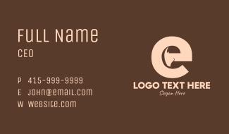 Brown Ram Head Letter E Business Card