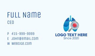 Respiratory Lungs Check Up Business Card