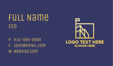 Gold Building Square Business Card
