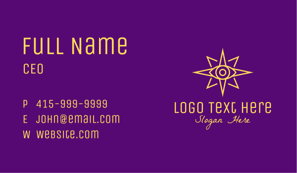 heavenly bodies - Yellow Mystic Eye Star Business card horizontal design
