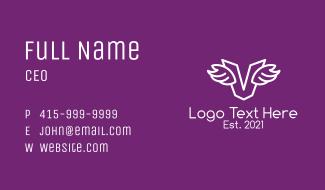 White Logistics Letter V Business Card