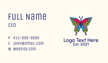 Artistic Butterfly Kite Business Card