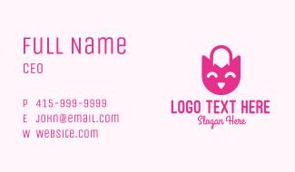 Pink Owl Shopping Bag Business Card