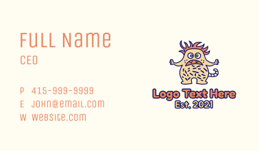 Hairy Monster Mascot Business Card
