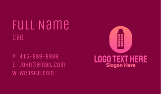 Pink Building Letter O Business Card