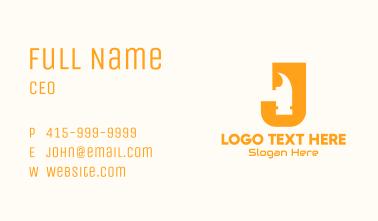 Letter J Hammer Business Card