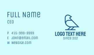 Blue Minimalist Finch Business Card