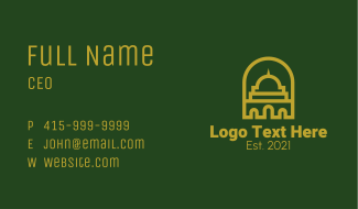 Islamic Mosque Structure Business Card