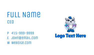 Cat Cleaning Mascot Business Card
