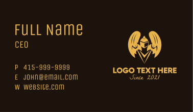 Medieval Knight Wings  Business Card