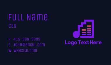High Note Music Bars Business Card