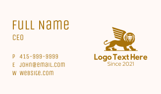 Winged Angry Lion Business Card