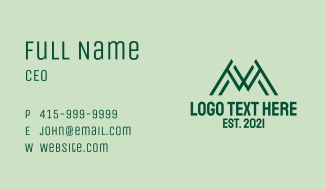 Green Linear Letter M Business Card
